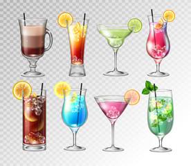 Set of Realistic cocktails  on transparent background. Vector illustration