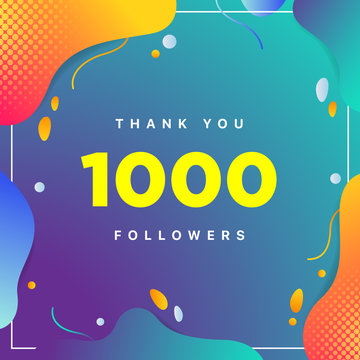 1000 or 1k, followers thank you colorful geometric background number. abstract for Social Network friends, followers, Web user Thank you celebrate of subscribers or followers and like