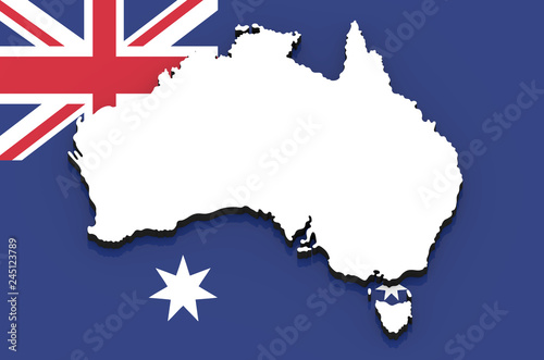 Free 3d Map Of Australia.3d Map Of Australia On The National Flag Stock Photo And Royalty