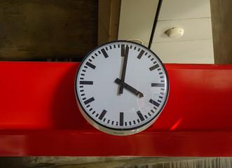 Analog clock at train station