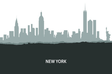 New York, USA skyline. City silhouette with skyscraper buildings, with famous American landmarks. Urban architectural landscape. - Vector