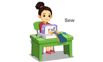 Cute little girl sewing clothes by sewing machine vector illustration