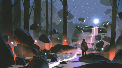 Foto op Aluminium Grandfailure man looking at the glowing light ball floating above waterfall in enchanted forest, digital art style, illustration painting
