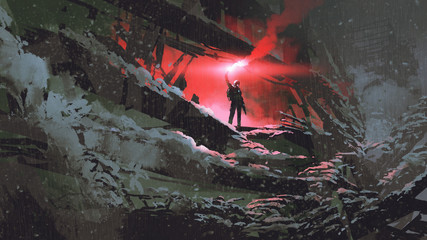 Deurstickers Grandfailure apocalypse world concept showing the man holding a red smoke flare in the destroyed building, digital art style, illustration painting