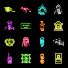 Museum and gallery neon icons in set collection for design. Storage and exhibition of showpiece vector symbol stock web illustration.