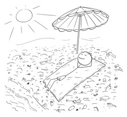 Cartoon stick drawing conceptual illustration of man lying on blanked under umbrella enjoying sun and ocean on beach polluted by plastic waste.