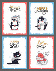 Winter Animals in Warm Cloth, Christmas Cards