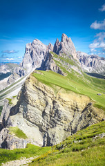 Fototapete - Elevated view, from the top of Seceda mountain, of the Odle Mountains, Puez Odle Natural Park, Trentino Alto Adige, Italy