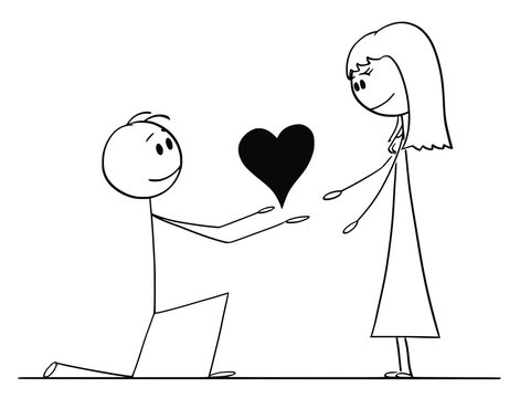 Cartoon stick drawing conceptual illustration of man kneeling and giving big heart to his beloved woman of love.