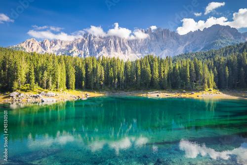 Wall mural Carezza lake and Latemar mountain, Bolzano province, South Tyrol, Italy