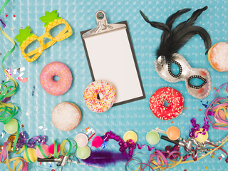 special blue effect background with donuts and doughnuts and carnival items