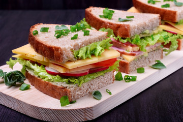 Sandwiches assortment on a wooden board against the dark background