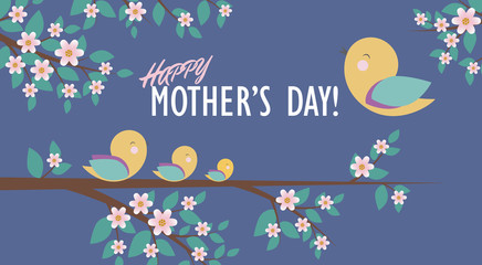 Happy Mother's Day greeting card design with positive image of happy birds sitting on a branch. Perfect for invitation, notebooks,covers, banner, creative compositions for scrapbooking. Vector.Eps10