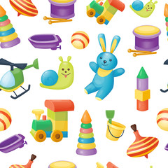 Seamless pattern of toys for kids games. Vector illustration, cartoon style