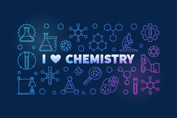 I Love Chemistry colored banner - vector Chemical concept outline illustration on dark background