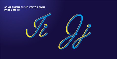 3D gradient blend vector alphabet