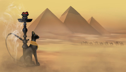 Hookah, Egyptian pyramids, desert landscape, sand. Gods of Egypt, Anubis and Bastet, Egyptian cat. East hookah on the background of the desert, sand, the old town and the sandstorm.