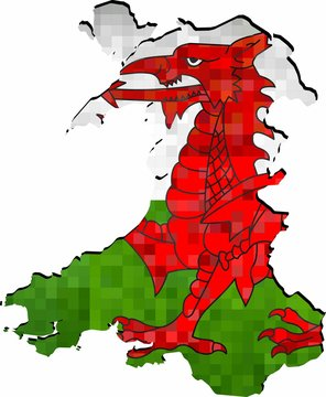 Grunge Wales map with flag inside - Illustration
