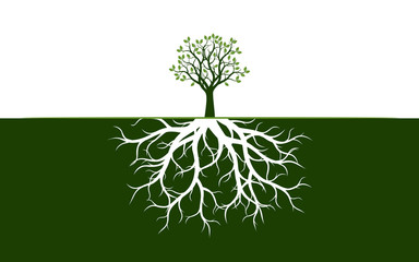 Spring Tree with Leaves. Vector Illustration.