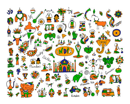 India, icons collection. Sketch for your design