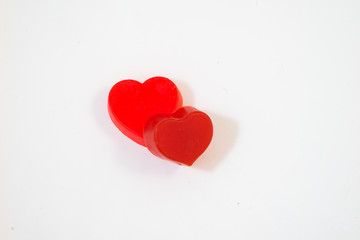 Red heart on white backgound