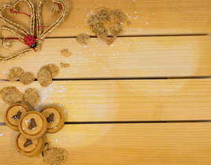 Cookies on wooden background.