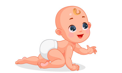 Vector illustration of cute baby crawling 1
