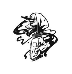 Bearded man - Hipster heads with beards, Hand drawn cartoon character t shirt design.
