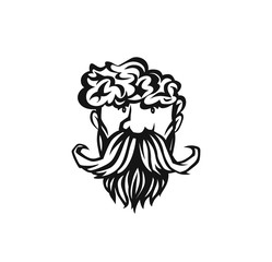 Hand drawn hipster male face, hairstyle, beard and mustache, vector illustration.
