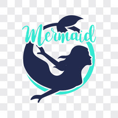 mermaid isolated on transparent background. vector illustration