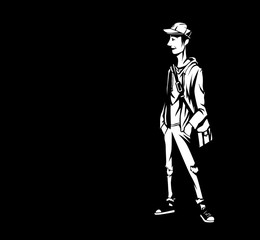 Young Boy going to school, Black Vector Background.