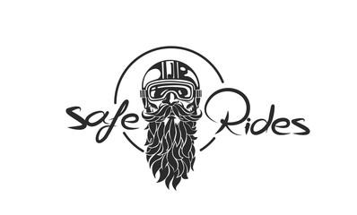 Sketch of hipster rider wearing a helmet for safe ride, vector illustration.