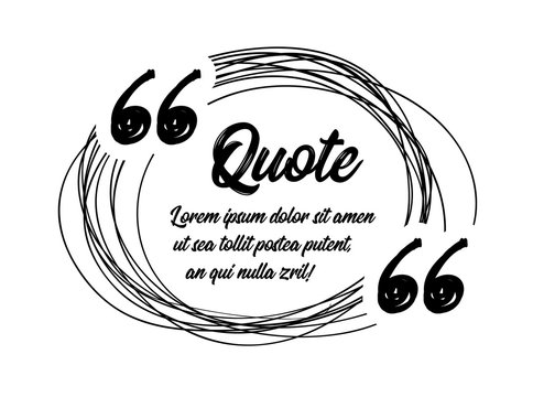 Drawn quotes and a frame to highlight the frame, quotes and other text in the article, or as a separate element. Vetor