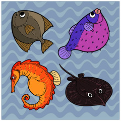 set of funny cartoon fishes.