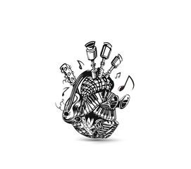 Musical instruments background. Vector illustration design.