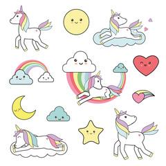 Cute unicorn elements - kawaii style