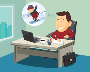 Creative graphic designer at work in office. Simple cartoon vector illustration.
