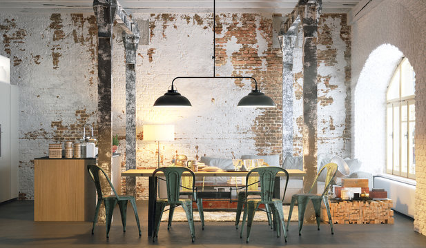 vintage loft apartment with brick wall 3d rendering