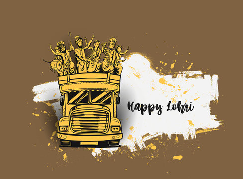 Happy Lohri India holiday festival of punjabi bhangra dance