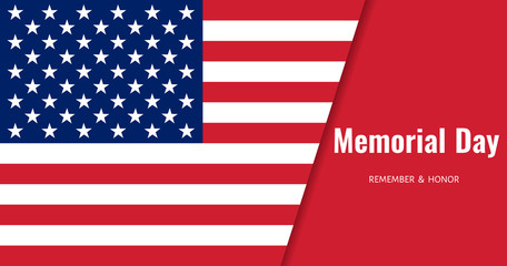 Memorial Day Background. USA Flag Banner. Vector
