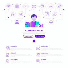 Communication web page template: man with speech bubble, inbox e-mail, telephone. Flat gradient style. Modern vector illustration.