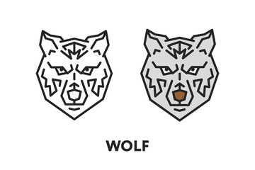 Wolf Dog Wild Face Head. Vector Flat Line Stroke Icon.