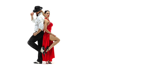 Portrait of young elegance tango dancers isolated over white background