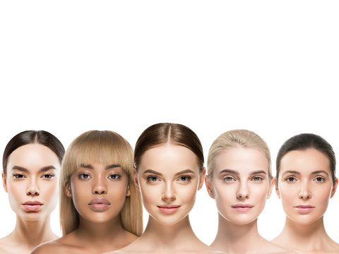 Ethnic beauty women cosmetic beautiful female group healthy skin and hair different skin tones