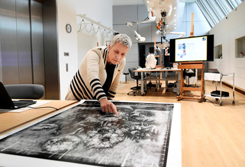 """Renovator Ella Hendriks shows a scan of the roentgen picture of Van Gogh's painting """"Sunflowers"""" at Van Gogh Museum in Amsterdam"""