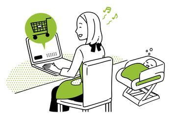 パソコンでネットショッピングをする主婦。