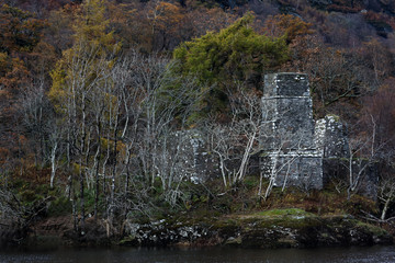 Ruin at Glen Orchy in Scottish Highlands