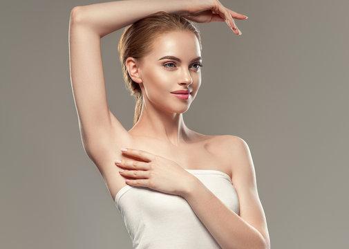 Armpit woman depilation concept beauty body