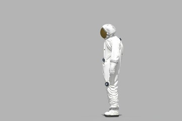 3d rendering space man on white background -  illustration