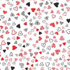 Doodle love heart Valentines Day seamless